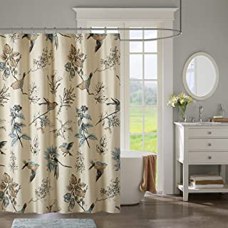 JLA Home INC Quincy Pattern Bird & Floral Cotton Fabric, Vintage Transitional Shower Curtains for Bathroom, 72 X 72, Khaki
