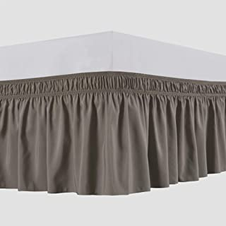 Biscaynebay Wrap Around Bed Skirts Elastic Bed Ruffles, Easy Fit Wrinkle and Fade Resistant Solid Color Luxurious Silky Textured Fabric, Taupe Queen 15 Inches Drop