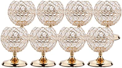 Baoblaze 8pcs Bling Crystal Candle Holders Wedding Centerpieces Candelabra Tealight Candlestick Holder for Wedding Birthda...