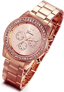 Luxury Bling Rhinestone Bezel Stainless Steel Band Watch for Men and Women (Rose Gold)