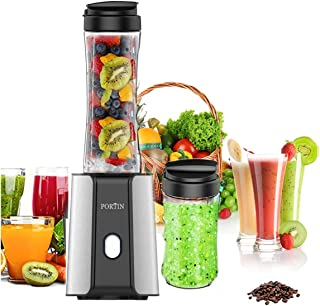 Portin QRQW-14 High Speed Personal Blender with Travel Portable Bottle for Making Shakes Smoothies and Juice,300 Watt Removable FDA Double Cup Ice Crushing, s Black
