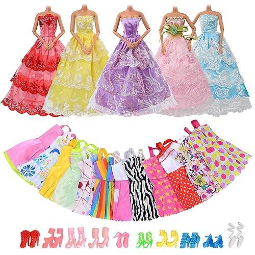 Asiv 5 Parti Robes et 12 Mini Jupes Vêtements et 10 Paires de Chaussures pour Poupée, Convient pour Barbie (au Hasard)