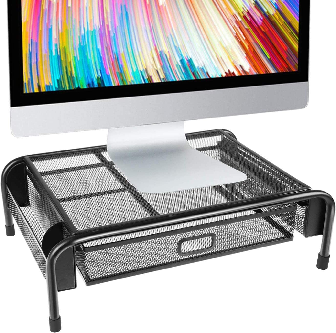 Monitor Riser Stand Mesh Metal Desk & Tabletop Organizer Monitor Mount Computer Laptop printer