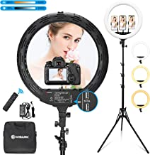 WISAMIC 18 inch LED Ring Light with Stand: Phone Holder Touch and Remote Control Bi-Color Dimmable 2800K-6000K for Selfie Makeup Camera Phone YouTube Video Photography Lighting