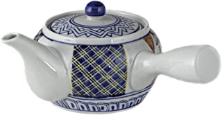 Fuji Merchandise Corp Japanese Traditional Style 4 inch Side Hand Ceramic Teapot Yokode Kyusu 20 fl oz Sencha Teapot Side Arm Handle With Stainless Steel Strainer