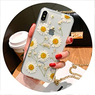 Real Dried Flowers Transparent Soft TPU Case for iPhone X 7 8 Plus 6 6S Epoxy Case for iPhone XR XS Max Back Cover Funda,F,for iPhone 7 Plus