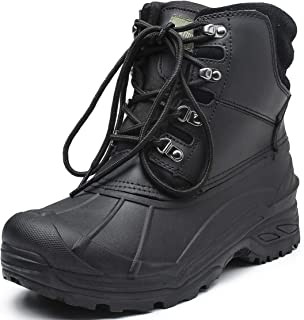 Men's Winter Snow Boots Waterproof Non-Slip Insulated Warm Safe and Durable Outdoor Ski Classic Suede, Non-Slip Rubber Outsole, Cushioned EVA Insoles,Mid-Calf Height Boots Deep Black