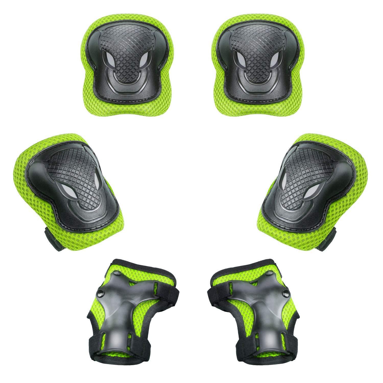 キッズ プロテクター セット 膝/肘/手首 パッド 6点セット 自転車&キックボード&ローラースケートなどのスポーツ用 子供防具 調整可能 Sサイズ 3-8歳向け 収納袋付き …