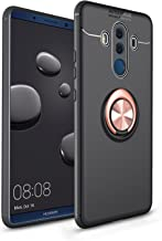Cavor for Huawei Mate 10 Pro Case, Invisible Metal Buckle with Magnetic Support Ring Bracket, 360 Degree Rotatable Ring Bracket, Shock and Scratch Resistant Slim Protector (Rose Gold+Black)