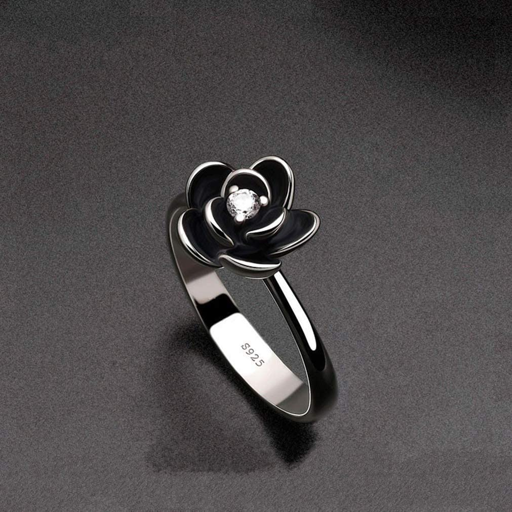 JESMING Silver OFFicial Rose Diamond Safety and trust Ring Black Sliver 925 Cub