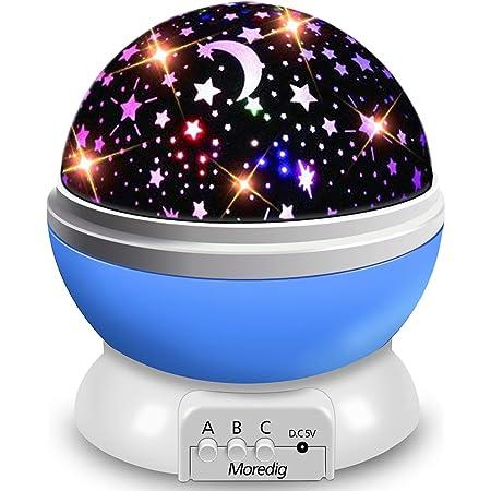 Veilleuse Enfant, Lampe Projecteur Rotation à 360° Romantique,Veilleuse Bébé Étoiles, Lampes de Chevet Lampes d'ambiance, 4 LED 8 Modes d'éclairage 2 Modes de Charge-Bleu