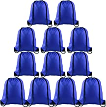 KUUQA 12 Pcs Drawstring Backpack Bags Sport Gym Sack Cinch Bags Bulk for School Traveling and Storage (Blue)