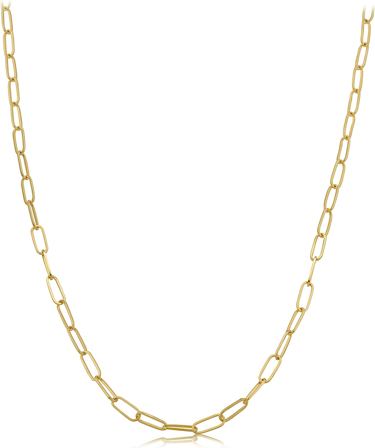 14k Yellow Gold 3mm Paper Clip Link Necklace