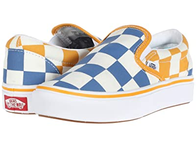 Vans Kids ComfyCush Slip-On (Little Kid) ((Big Checker) True Blue/Cadmium Yellow) Boys Shoes