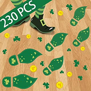 230PCS St. Patrick`s Day Decorations Leprechaun Footprints Floor Clings- Shamrock Gold Coin Party Decorations Decals Stickers