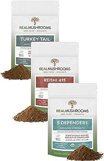 Real Mushrooms Ultimate Pet Defense & Immunity - 5-Defenders + Reishi + Turkey Tail Certified Organic Mushroom Powders for...