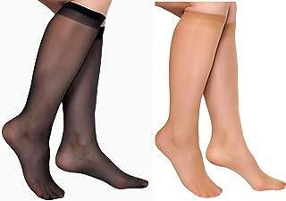10 Pairs Lady's Sheer Knee High Stockings (5 Pairs Black, 6 Pairs Nude)