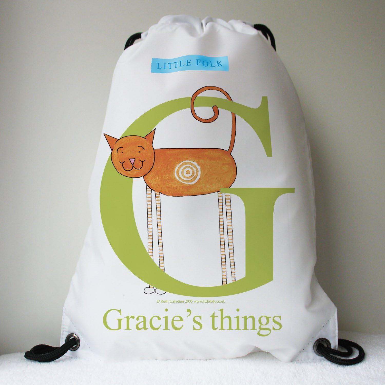 Target the Little Cat from the Alphabet Range Little Folk Personalised Drawstring Swimming Bags for Girls /& Boys