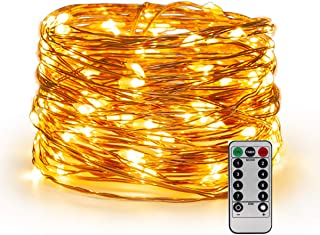 YIHONG USB Powered Fairy Lights, 66ft 200Leds Christmas String Lights with Remote Control Timer Twinkle Firefly Lights for Garden Patio Halloween Indoor Decor - Warm White