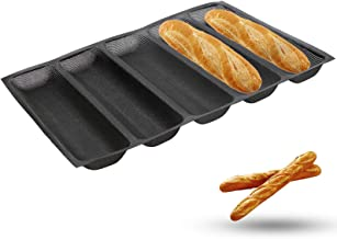 Silicone Baguette Pan - Non-stick Perforated Fench Bread Pan Forms , Hot Dog Molds , Baking Liners Mat Bread Mould (5 Loaf...