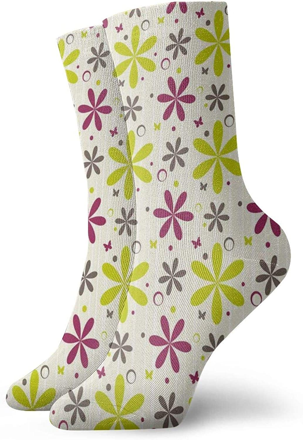Compression High Socks,Cute Flowers Buds With Butterfly And Circ