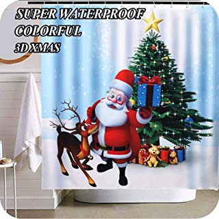 OurWarm Christmas Shower Curtain, Xmas Curtains 3D Santa Claus Elk Xmas Tree for Christmas Decorations 72
