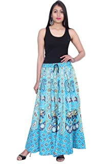 Kastiel Blue Cotton Long Printed Sanganeri Jaipuri Skirt for Woman's/Girls