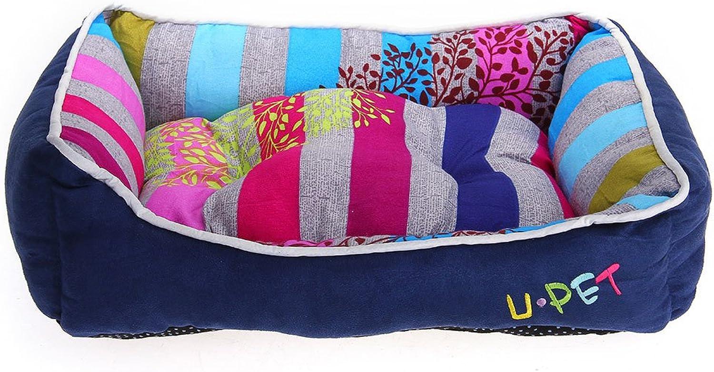 Crazo Puppy Pet Dog Cat Bed House Cushion Nest Mat Pad Cute Royal bluee Stripe S