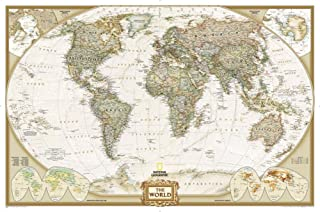 National Geographic - World Executive Map, Enlarged & Laminated Poster by National Geographic 73 x 48in
