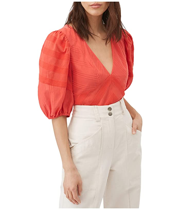 Rebecca Taylor  Short Sleeve Stripe V-Neck Top (Red Coral) Womens Clothing