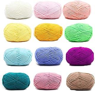 Sunbbingsp Fils de Coton, 12 Pcs Coton a Crocheter, Laine à Tricoter Coton, Coton pour Crocheter, Tricot Coton Lot de Coto...