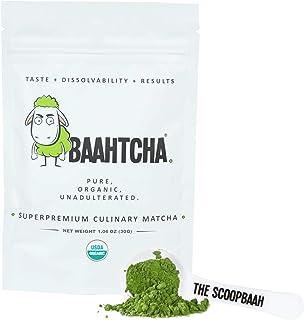 Baahtcha - USDA Organic Matcha Green Tea Powder - Premium Culinary Grade Natural Caffeine Energy Booster, Antioxidant, Weight Loss - Gluten Free, Vegan - Starter Size - 30g