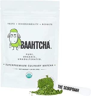 Baahtcha - USDA Organic Matcha Green Tea Powder - Premium Culinary Grade Natural Caffeine Energy Booster, Antioxidant - Gluten Free, Vegan - Starter Size - 30g