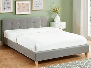 HOMIFAB Lit Adulte avec tête de lit capitonnée en Tissu Gris Clair - sommier à Lattes 140x190cm - Collection Milo