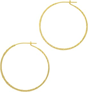 And Lovely 14K Gold or Silver Plated Wired Boho Hammered Open Round Hypoallergenic Hoops