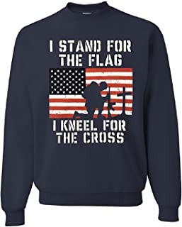 I Stand for The Flag I Kneel for The Cross Patriotic Military Sweatshirt