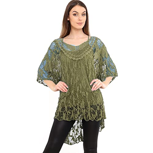 43e37acd39 AHR Zaif & Hari Ladies Italian Lagenlook Knitted Crochet Lace Mesh Quirky  Loose High Low Layering