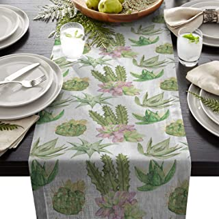 Seven Sunshine Watercolor Cactus Cotton Linen Burlap Table Runner Desert Succulents Plant Home Decorative Table Cloth Cover for Kitchen Dining Banquet Party/Parties Tabletop Picnic Dinner 13×90inch
