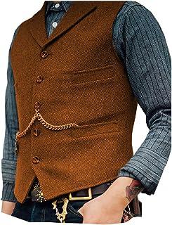 JinXuanYa Men's Tweed Waistcoat Wool Formal Herringbone Classic Slim Fit Waistcoat Business Notch Collar for Wedding Party...