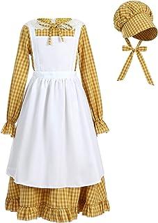 NUOQI Girls Pioneer Colonial Dress Prairie Pilgrim Historical Costume for Girl