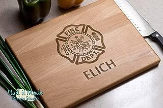 Firefighter Malteze Cross - Maltese Cross - Personalized Monogram Cutting Board, Engraved Cutting Board, Custom Cutting Board, Wood Cutting Board