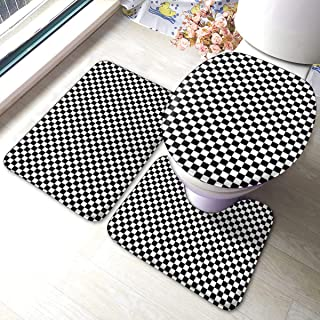 ブラックホワイトチェック バスルームラグセットバスマットシャワーラグU字型輪郭マット、浴槽シャワーバスルーム3個セット用ゴム裏地付き蓋カバーノンスリップ