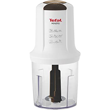 Tefal MQ714140 Minipro Multi-Function Chopper, 500 W with Two Speeds and Three Removable Stainless Blades and 500 ml Working Capacity Bowl - White