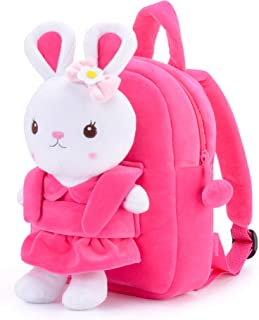 Gloveleya Toddler Backpack for Girls Kids Backpack with Stuffed Bunny Toy Pink 9 Inches