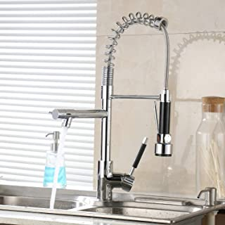 Leekayer Commercial Pull Down Kitchen Sink Faucet with Sprayer Chrome Finish Sink Faucet 1 Hole Mount 2 Spout Hot and Cold Temperature Mixer Kitchen Tap Brass with Supply Hoses