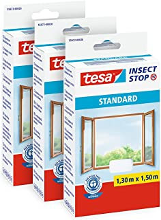 tesa Insect Stop Standard Vliegenhor voor Ramen - Set van 3 pack - Insectenhor, raamhor - Met klittenband - Snij uw eigen ...