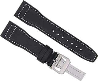 21MM Leather Watch Strap Band for IWC Pilot Portuguese Watch Clasp Black WS