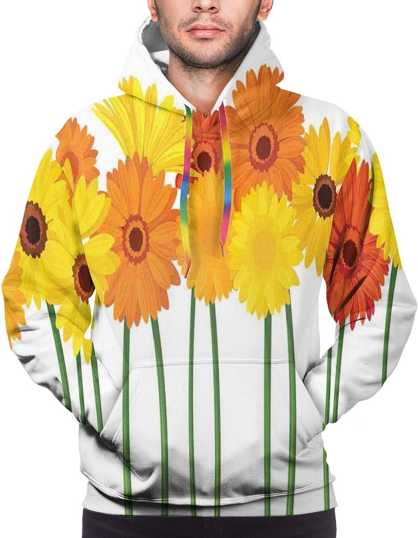 Men's Hoodies Sweatshirts,Orange and Yellow Color Flowers On Green Stems Horizontal Border