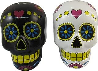 DWK - Los Sabrositos - Black & White Sugar Skull Day of the Dead Dia de los Muertos Ceramic Skulls Calaveras Salt & Pepper Shaker Set Kitchen Dining Décor, 3.25-inch