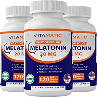 3 Pack - Vitamatic Melatonin 20mg Fast Dissolve 120 Tablets | Nighttime Sleep Aid | Natural Berry Flavor | Vegetarian, Non...